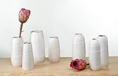 Image 1 KA Ceramics bronze lustre and copper rim vase collection
