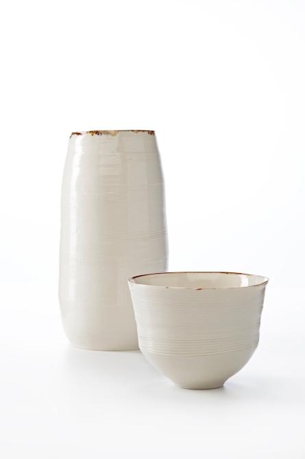 Image 4 KA Ceramics Bronze lustre rim vessel and small bowl