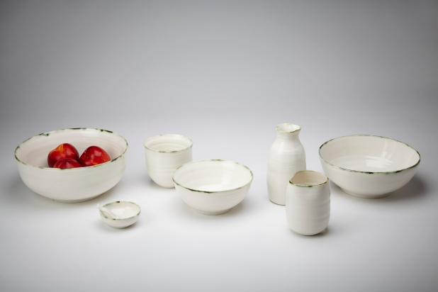 3.Adams KA Ceramics Copper Green rim collection ranging from salt bowls and spoons, pourers, oil pourers, soup_rice, yunomi cup bows, pasta bowl, salad bowls Photography Matthew Booth
