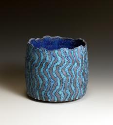 Dark blue cylinder vessel with rich blue interior 10 cm h 11 cm