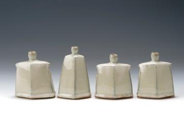 Hake J 3.jpeg. Facetted vases. tallest 12 cm.(2015)