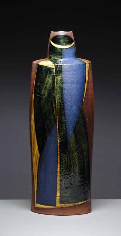 Oval bottle h 37cm dark honey glaze 2015