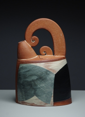 Oval tea pot h23cm clear semi matt glaze 2015