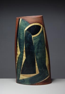 Oval vessel h 32cm matt honey glaze 2015